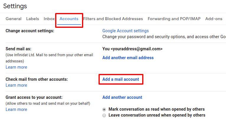 Configuration Of Gmail To Pull Mail