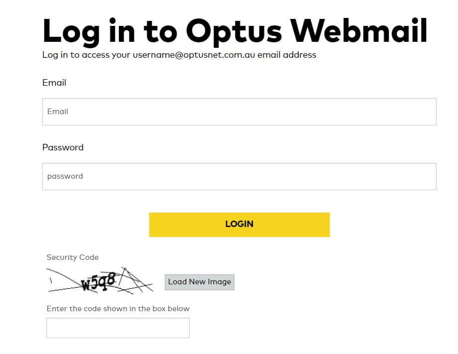 Log in to access Optus webmail